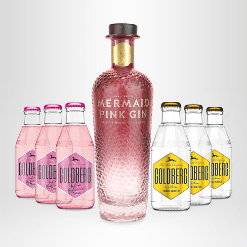 MERMAID Pink Gin, 0,7l + 3x GOLDBERG Hibiscus Tonic, 0,2l + 3x GOLDBERG Tonic Water, 0,2l