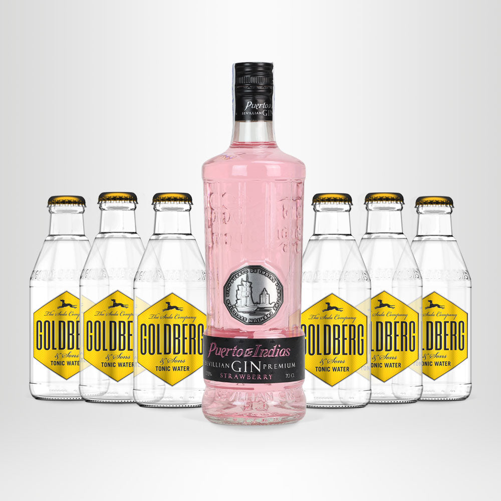 Puerto de Indias Strawberry Gin, 0,7l + 6x GOLDBERG Tonic Water, 0,2l
