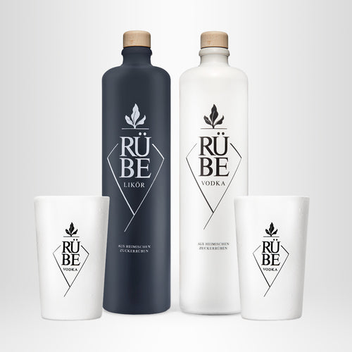 RÜBE Set Black & White mit Bechern (Vodka, 0,7l + Likör, 0,7l + 2x RÜBE Keramikbecher, 0,3l)