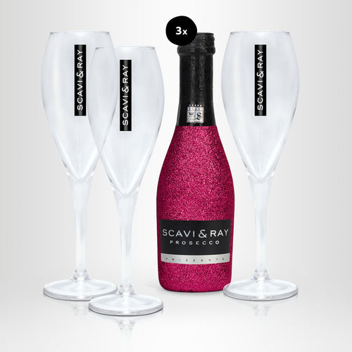 SCAVI & RAY Bling-Bling Edition Piccolo Geschenkbox, 3x 0,2l + 3x Glas