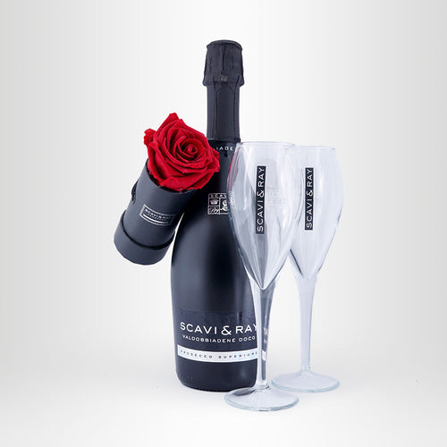 Forever-Love-Set, 1x Infinity-Rose + 1x SCAVI & RAY DOCG, 0,75l +2x SCAVI & RAY Prosecco-Glas