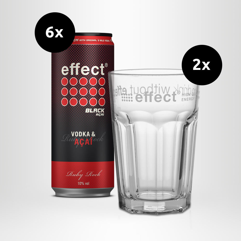 6x effect® VODKA & AÇAÍ - Ruby Rock + 2 effect® Gläser