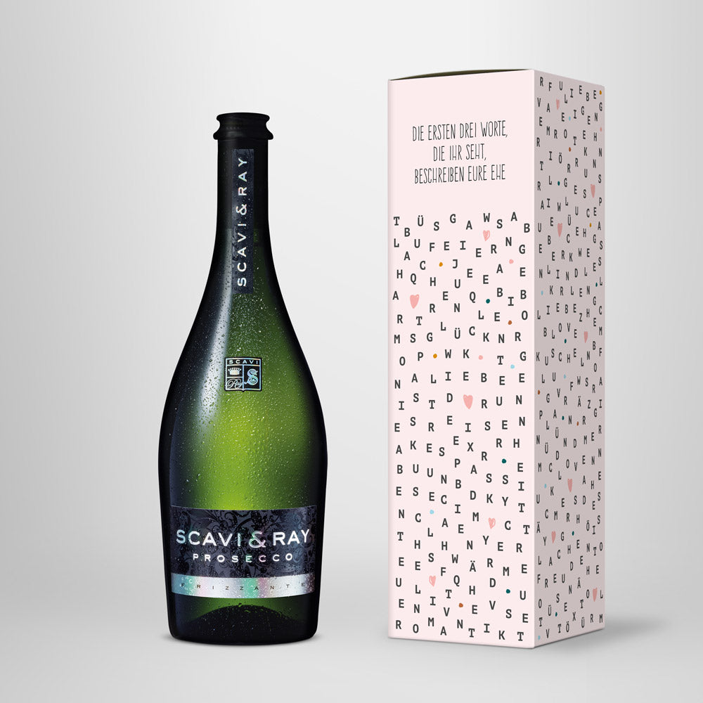 "Prosecco in Geschenkbox – SCAVI & RAY nach Wahl – ""Wedding Letters"""