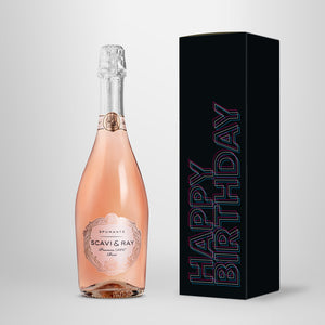 "Prosecco in Geschenkbox – SCAVI & RAY nach Wahl – ""Happy Birthday 3D"""
