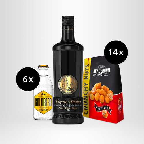 HENDERSON & SONS Crunchy Nuts + Puerto de Indias Dry Gin – Pure Black Edition + GOLDBERG Tonic Water