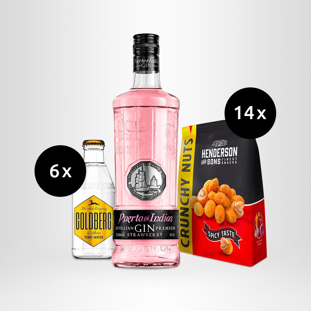 HENDERSON & SONS Crunchy Nuts + Puerto de Indias Strawberry Gin + GOLDBERG Tonic Water