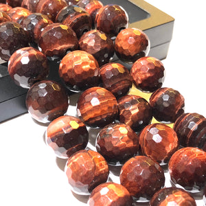 African Red Tiger's Eye (Exquisite Matrix) 12mm Faceted Round Beads