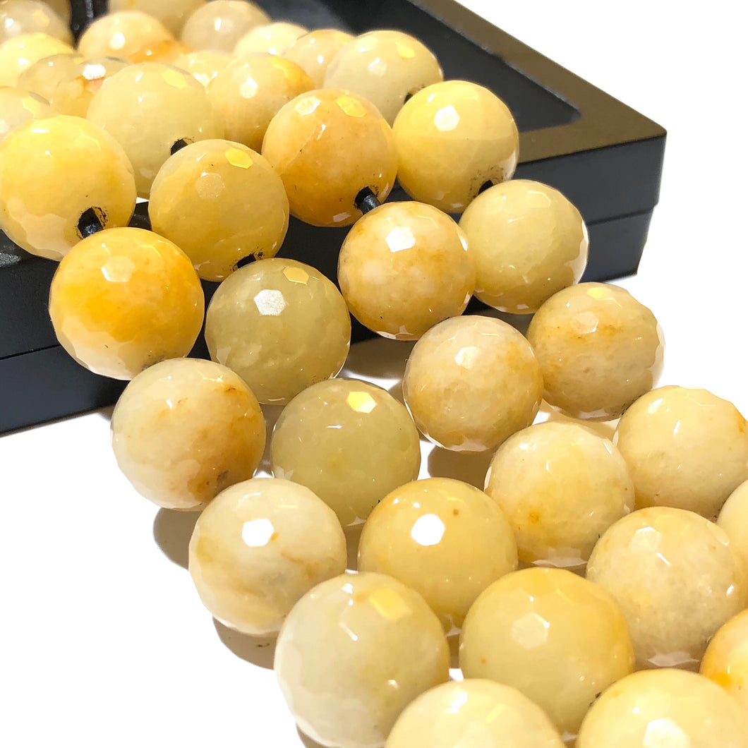 Madagascan Honey Jade 12mm Faceted Round Beads