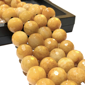 Yellow Jasper 12mm Faceted Round Beads
