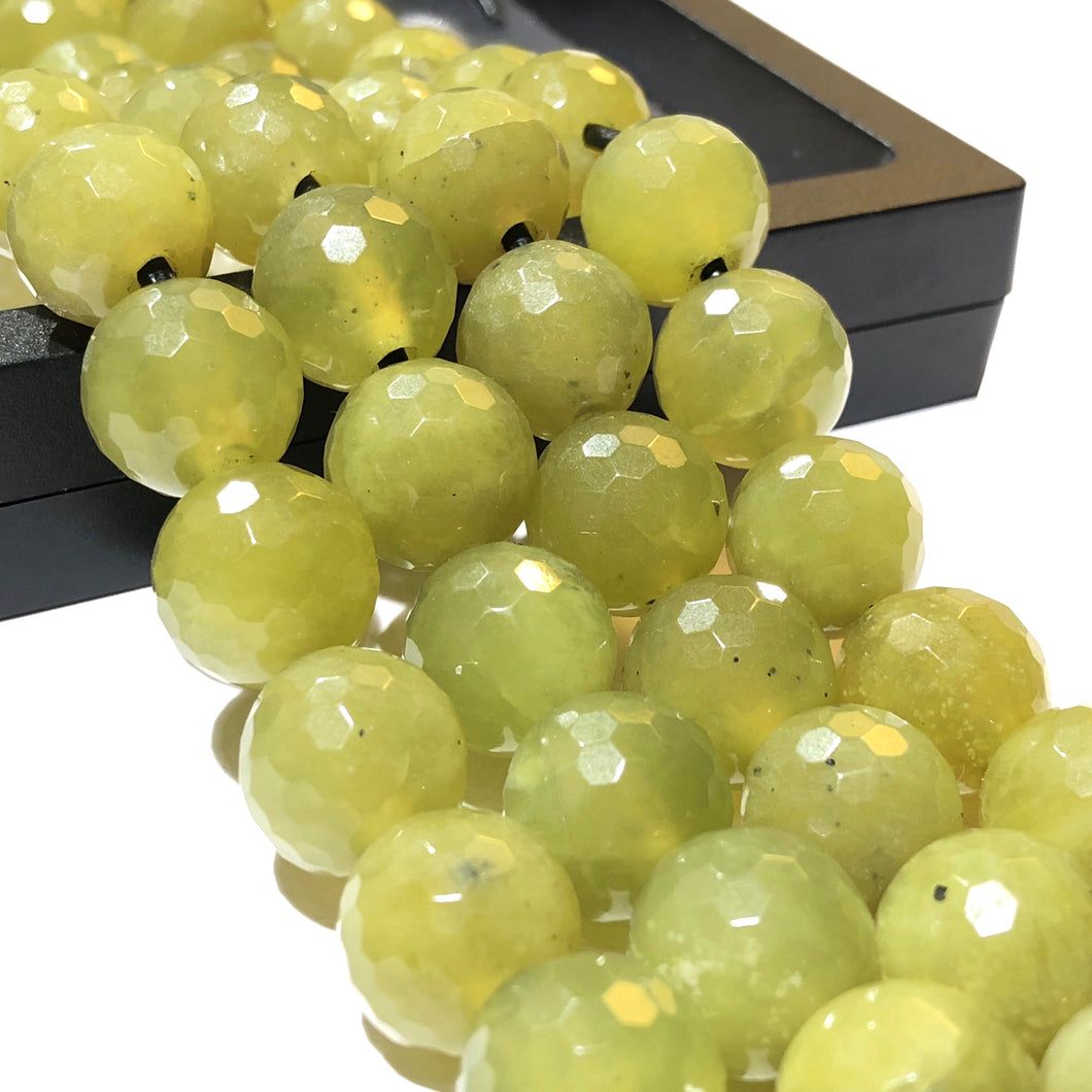 African Olive Jade 12mm Faceted Round Beads