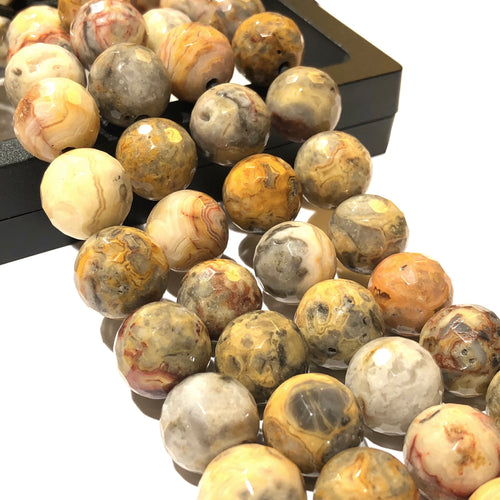 Africa Tiger's Eye (Exquisite Matrix) 12mm Faceted Round Beads