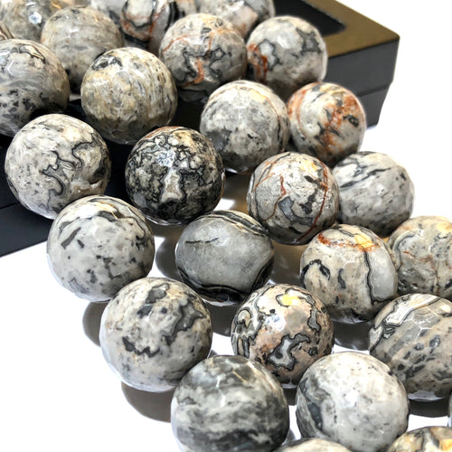 African Snake Skin Jasper AKA Map Jasper 12mm Faceted Round Beads