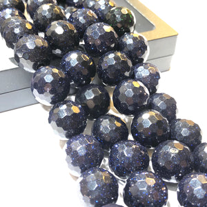 Blue Gold Stone (Beautiful Sparking) 12mm Faceted Round Beads