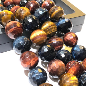 Red Tiger Eye (Exquisite Matrix) 12mm Faceted Round Beads