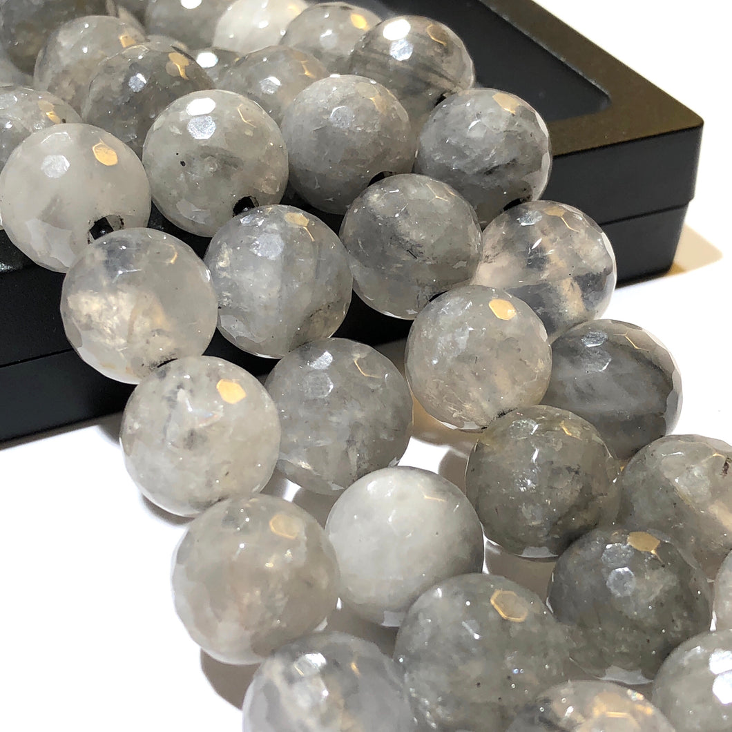Smoky Quartz 12mm Faceted Round Beads
