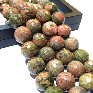 Brazilian Unakite (Exquisite Orange Calcite Inclusions) 12mm Faceted Round Beads