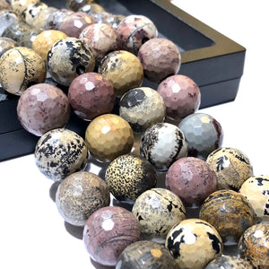 African Picasso Jasper AKA Chohua Jasper (Beautiful Matrix) 12mm Faceted Round Beads