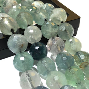 Mexican Green Fluorite (Translucent with Beautiful Inclusions) 12mm Faceted Round Beads