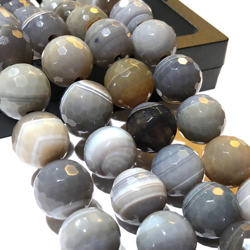 Botswana Agate (Exquisite Banded Matrix) 12mm Faceted Round Beads