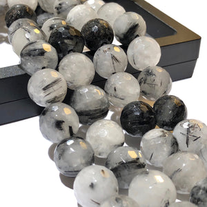 Madagascan Black Tourmalated Quartz (Exquisite Black Tourmaline Inclusions) 12mm Faceted Round Beads