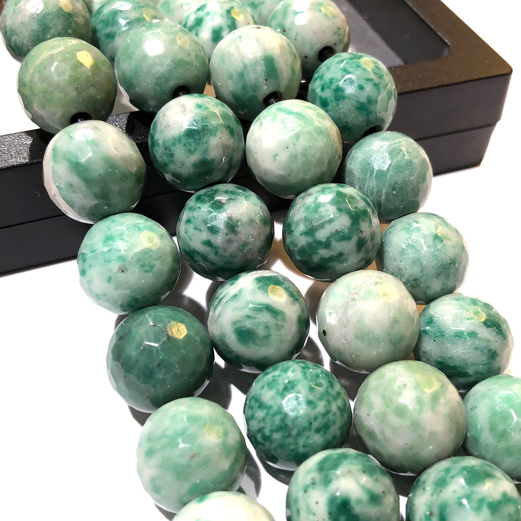 Brazilian Tree Agate 12mm Faceted Round Beads