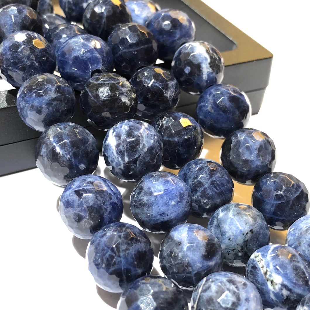 Brazilian Sodalite (Exquisite Matrix) 12mm Faceted Round Beads