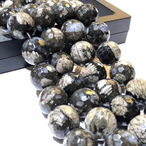Snowflakes Jasper (Exquisite Matrix) 12mm Faceted Round Beads