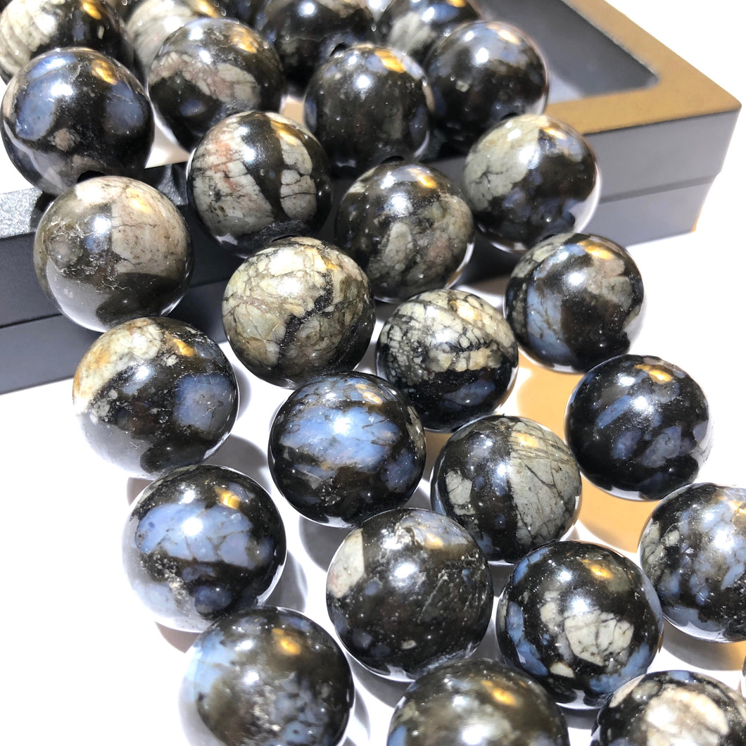 Australian Blue Rhyolite (Exquisite Matrix) 12mm Smooth Round Beads