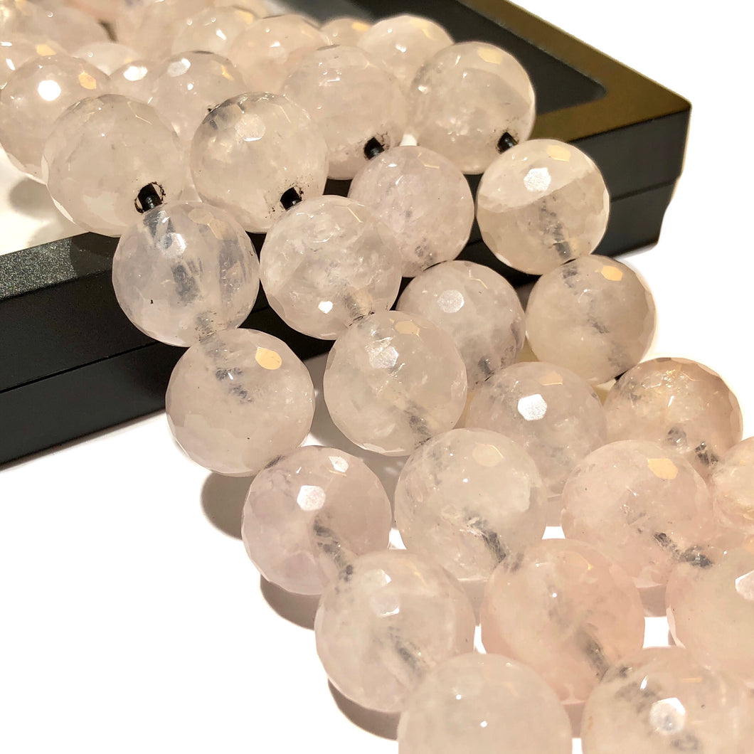 Madagascan Rose Quartz (Translucent with Beautiful Inclusions) 12mm Faceted Round Beads