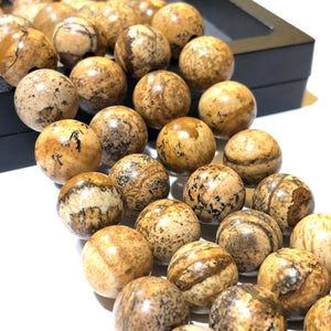American Picture Jasper (Exquisite Matrix) 12mm Smooth Round Beads