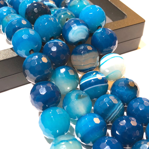 Blue Agate (Exquisite Matrix) 12mm Faceted Round Beads