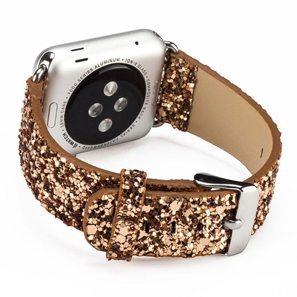iitee Gold Glitter Leather Bling Luxury Iwatch Band Wristwatch Belt Apple Watch