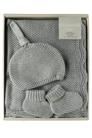 Little Bamboo Textured Knit Gift Set Marle Grey