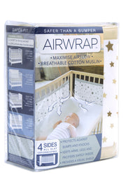 Airwrap Cot Liner Muslin 4 Sides - Star Chocolate