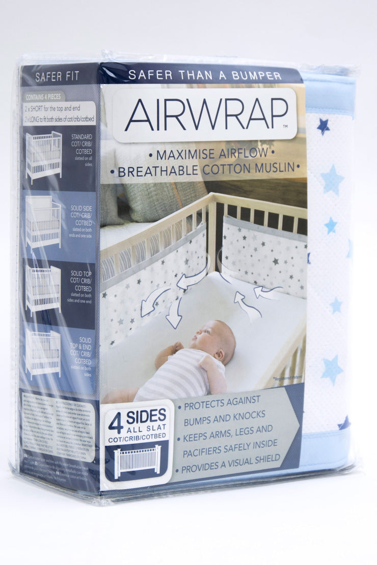 Airwrap Cot Liner Muslin 4 Sides - Star Blue