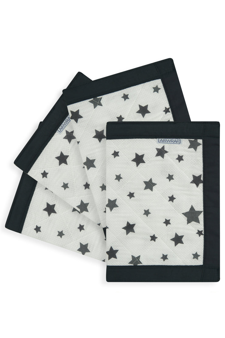 Airwrap Cot Liner Muslin 4 Sides - Star Charcoal