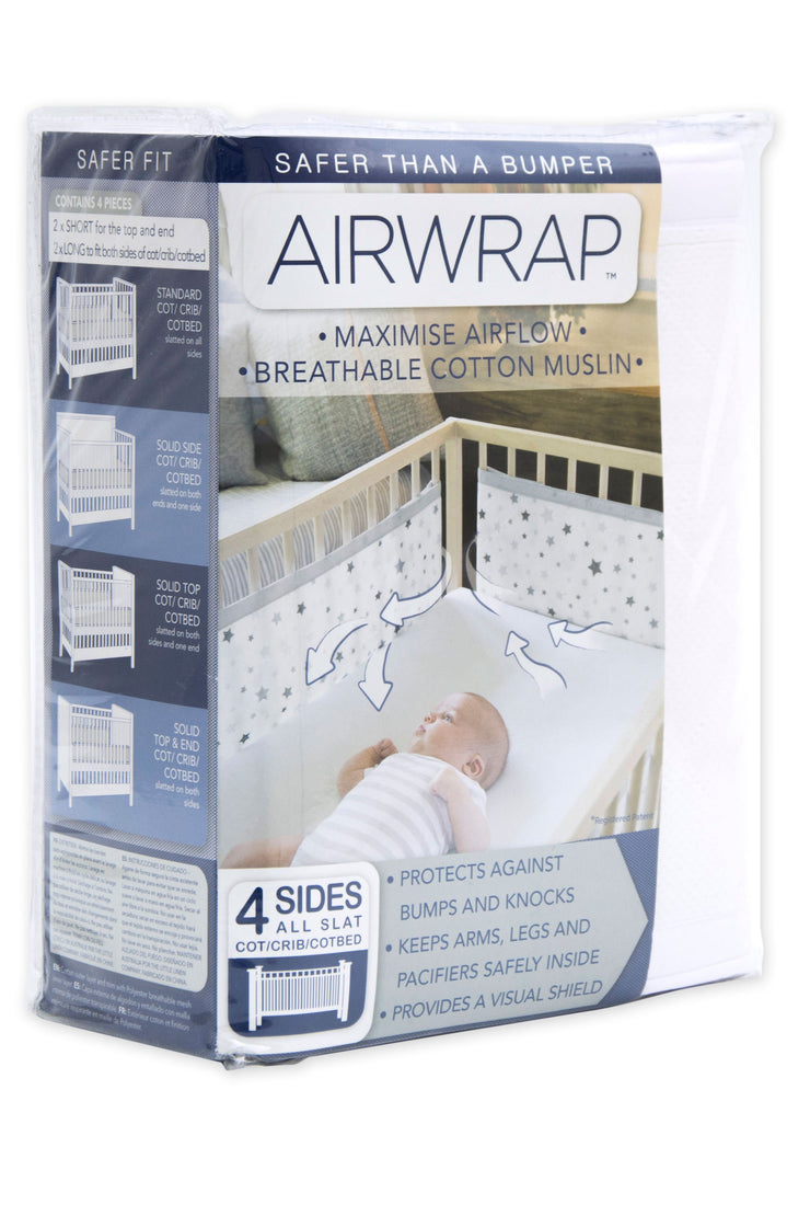 Airwrap Cot Liner Muslin 4 Sides - White