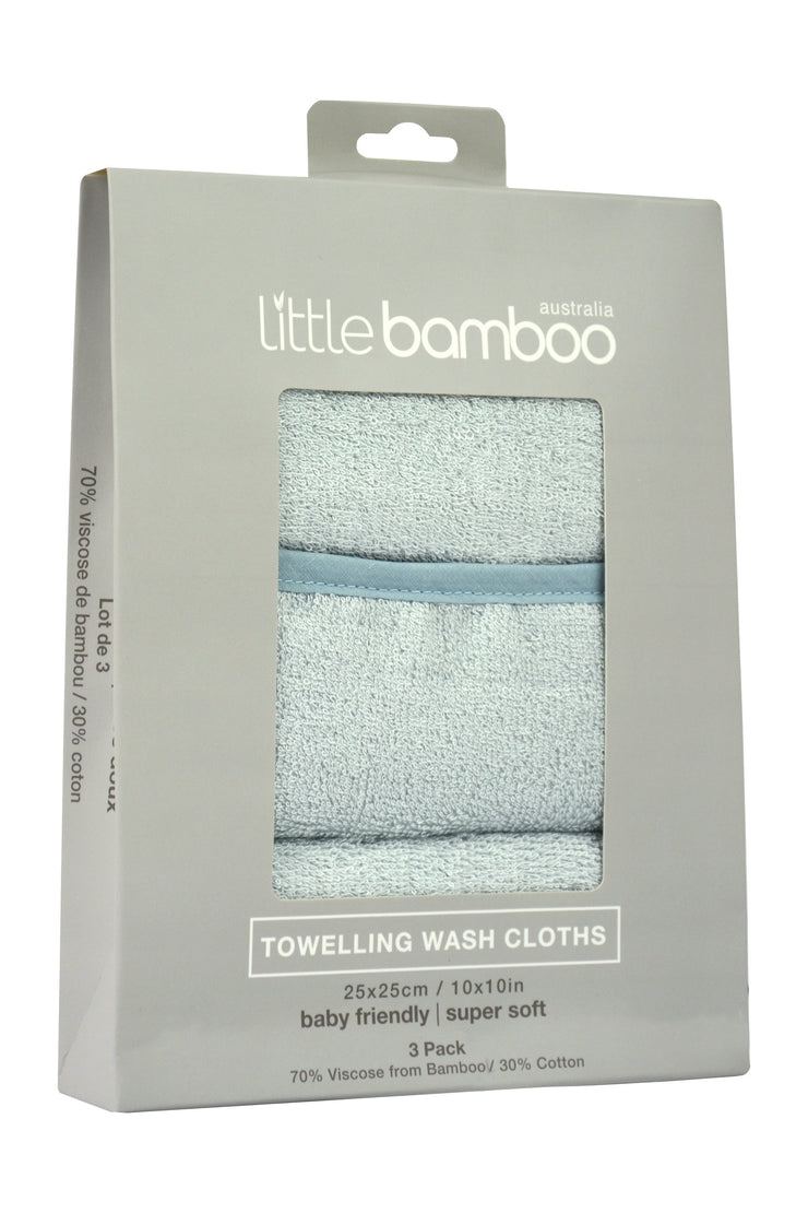 Little Bamboo Towelling Washer 3Pk - Whisper