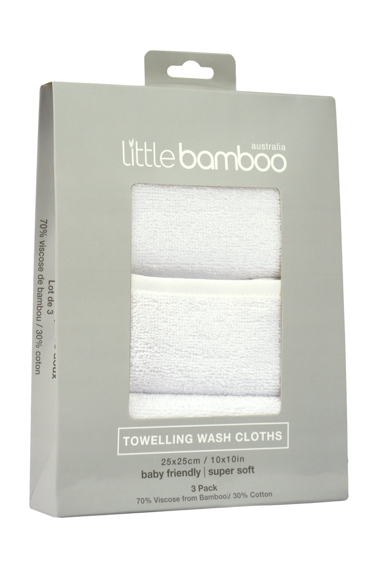 Little Bamboo Towelling Washer 3Pk - Natural