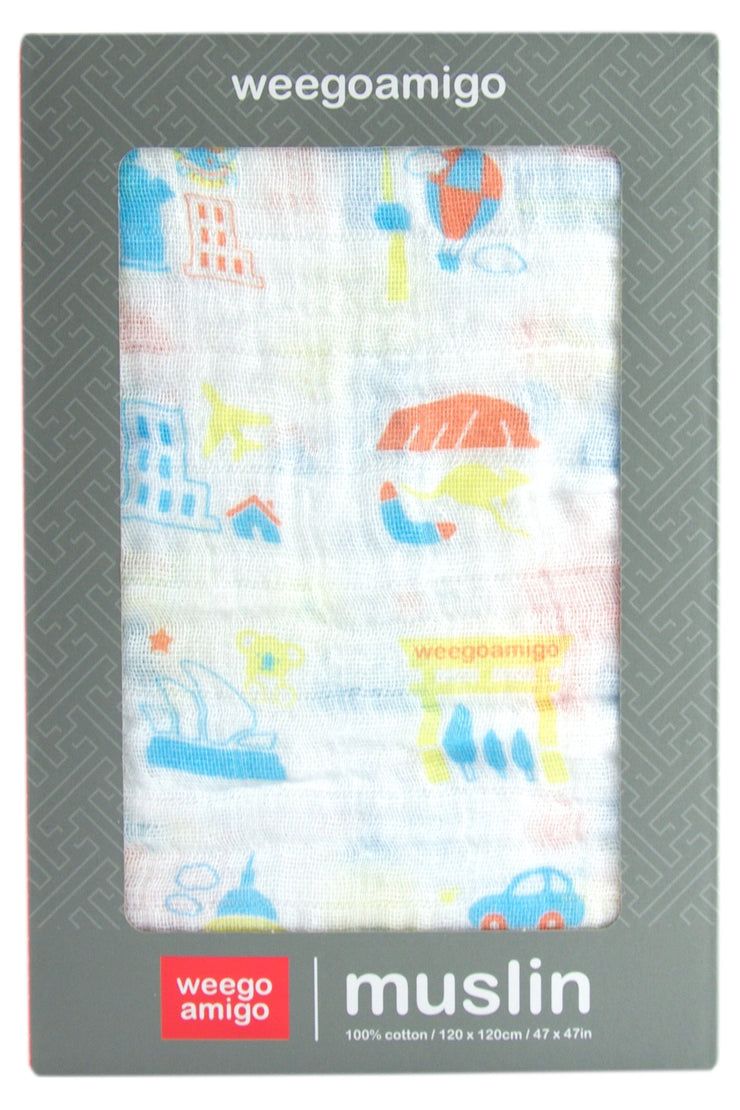 Weego Muslin 1pk Prints - Cities
