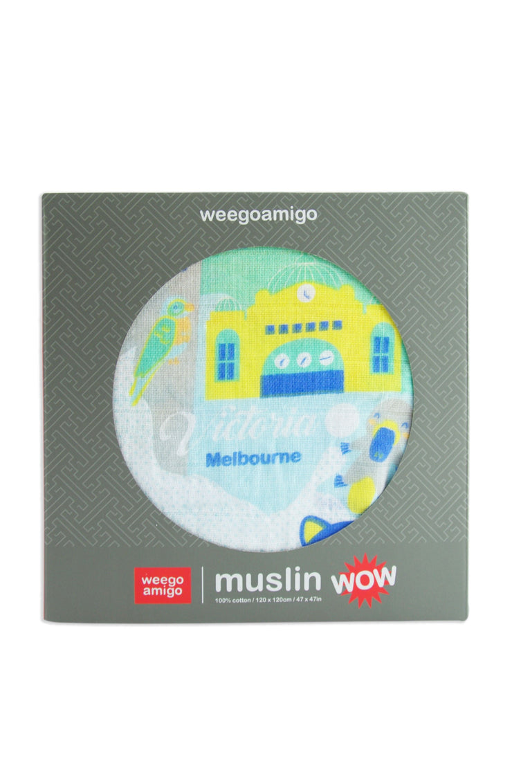 Weegoamigo Muslin 1pk Prints WOW - Down Under