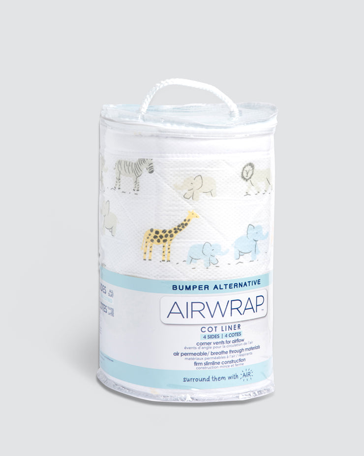 Airwrap Cot Liner Muslin 4 Sides - Safari March Multi.
