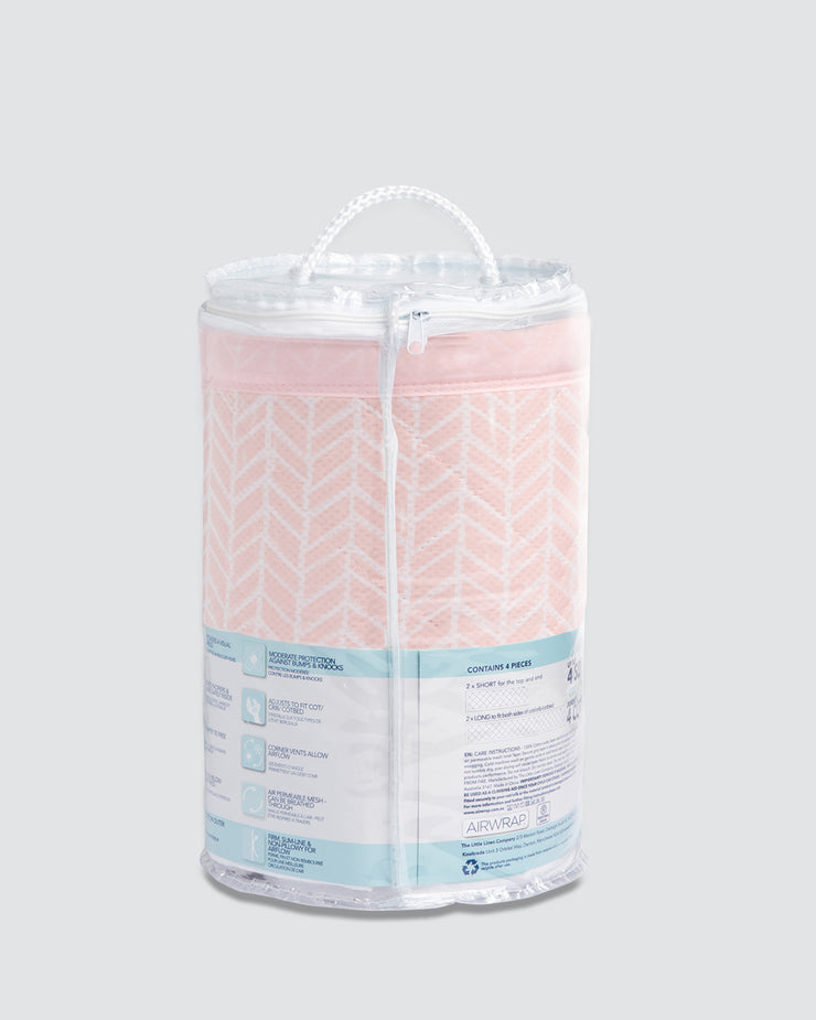 Airwrap Cot Liner Muslin 4 Sides - Soho Pink.