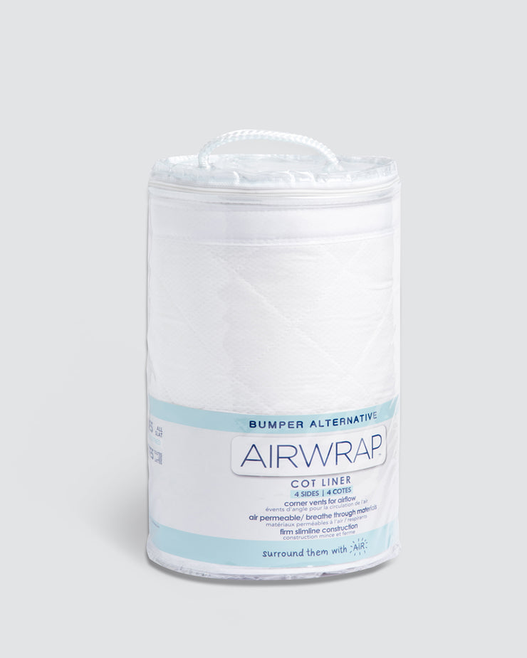 Airwrap Cot Liner Muslin 4 Sides - White.