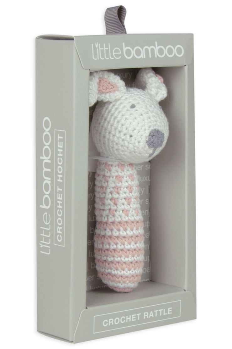 Little Bamboo Crochet Rattle - Dallas the Dog