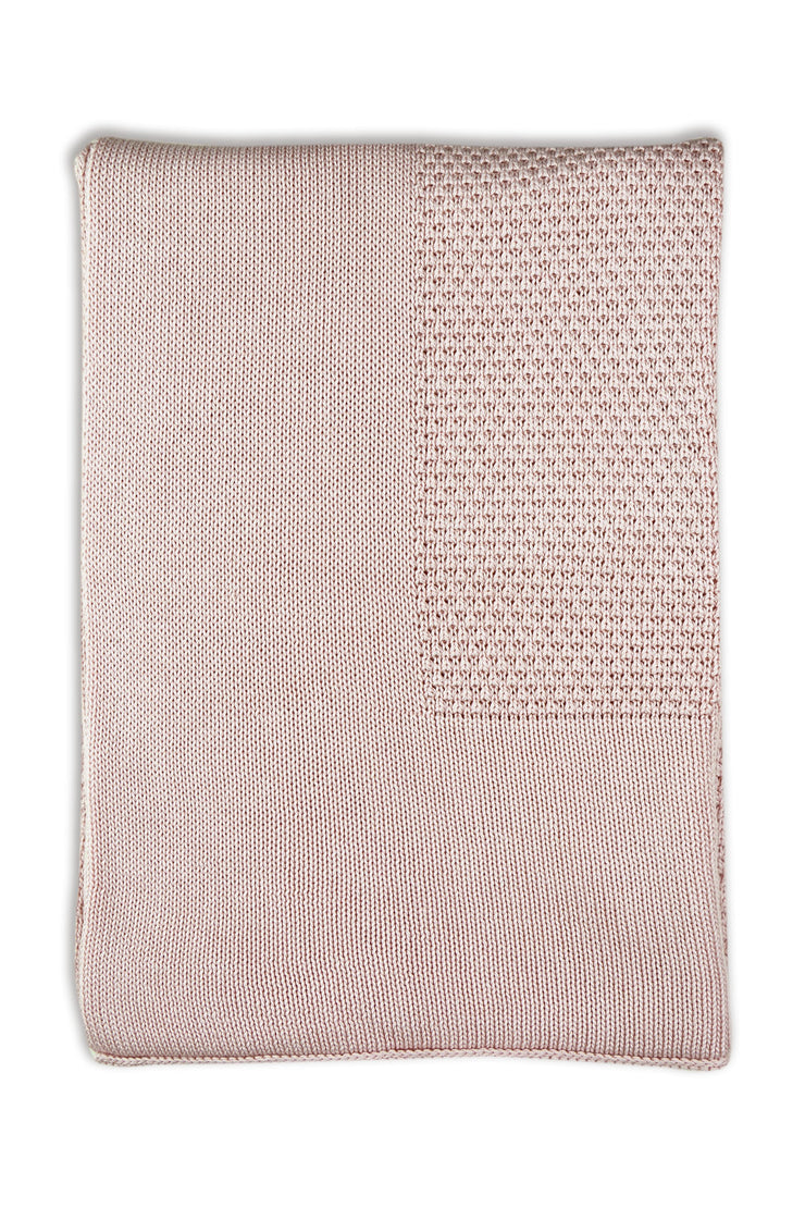 Little Bamboo Textured Knit Blanket - Dusty Pink