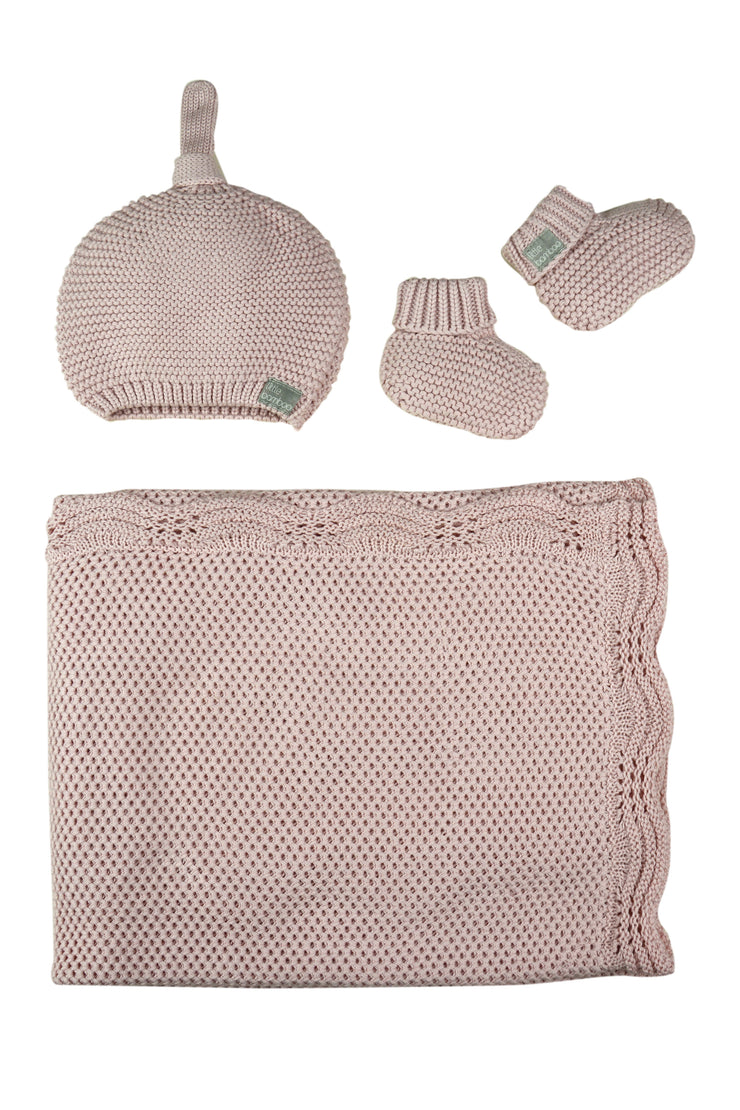 Little Bamboo Textured Knit Gift Set - Dusty Pink