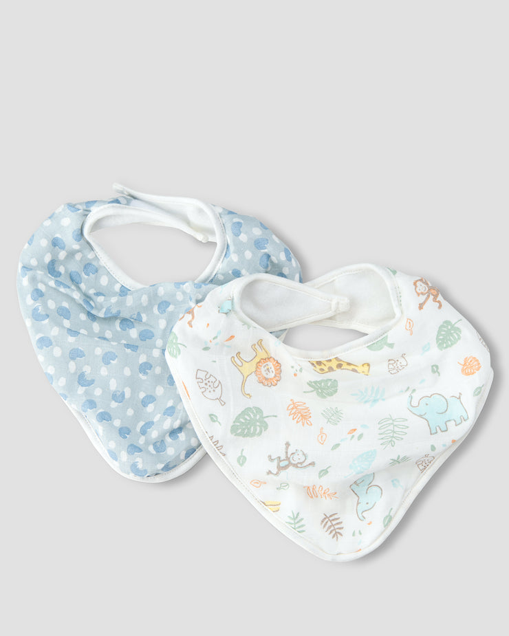 Little Linen Muslin 2pk Bandana Bib - Jungle Mates