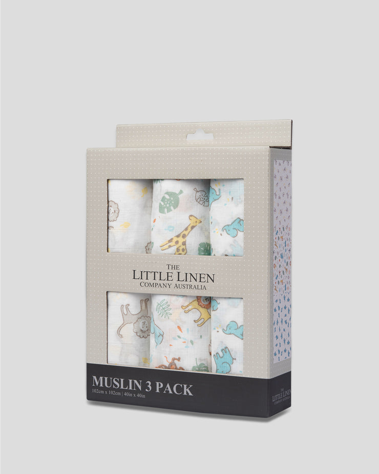 TLLC Muslin 3Pk Prints - Safari Bear
