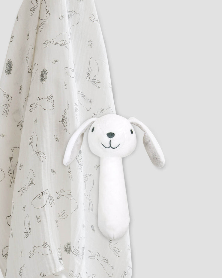 TLLC Muslin Wrap & Crinkle Toy - Ivory Bunny